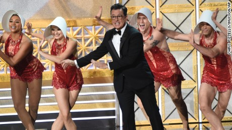Host Stephen Colbert performs at the 69th Primetime Emmy Awards.