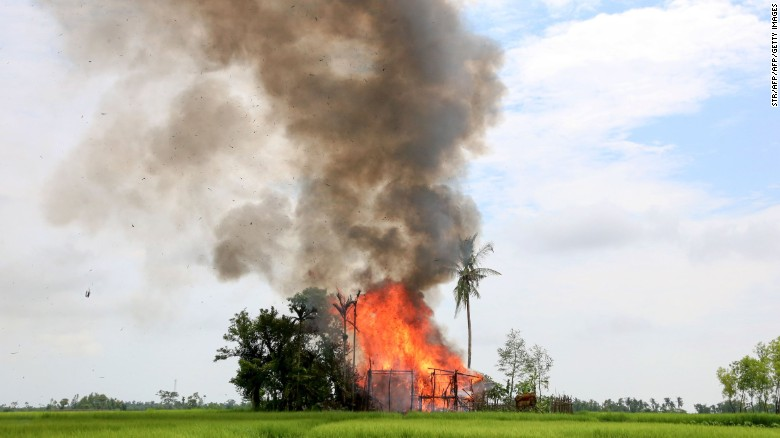 A house burns in Gawdu Tharya village near Maungdaw in Rakhine state in northern Myanmar, September 7, 2017.