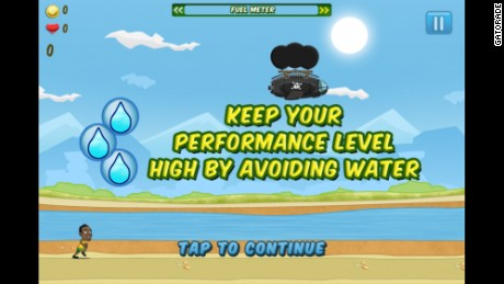 "The ""Bolt!"" game warns players to avoid water."