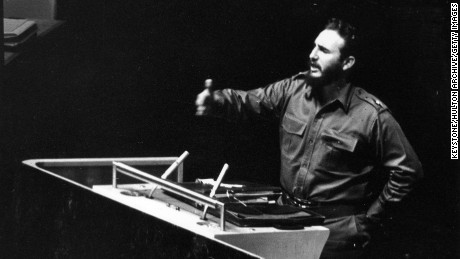 Cuban President Fidel Castro addressing the United Nations General Assembly in New York.