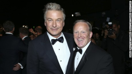 Alec Baldwin and Sean Spicer backstage at the 69th Primetime Emmy Awards, Sunday, September 17, 2017.