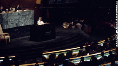 12th November 1974:  Palesinian resistance leader and Palestine Liberation Organisation chairman Yasser Arafat speaking at a plenary session of the General Assembly of the United Nations.