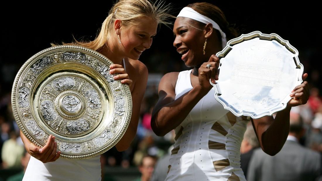 Sharapova celebrates winning her first grand slam title