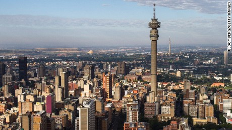 The Hillbrow Telkom tower stands amongst commercial and residential property on the city skyline in this aerial view of Johannesburg, South Africa, on Saturday, Dec. 14, 2013. While Johannesburg flourished after the discovery of gold in 1886 the stress that the mining has placed on underground rock formations has increased seismic activity.