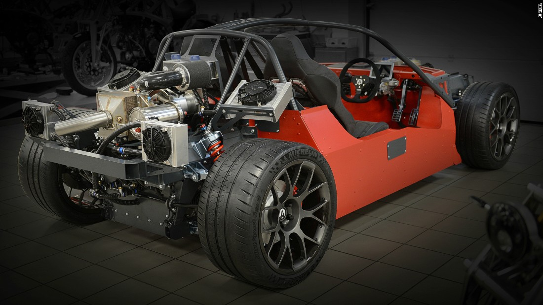 The chassis is made from aluminum with a high strength safety rollover cage, according the Ariel Motors.