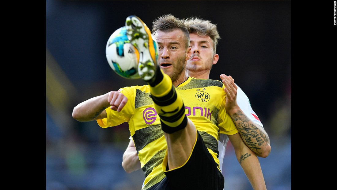 Dortmund's Andriy Yarmolenko kicks the ball during a German league match against Cologne on Sunday, September 17.