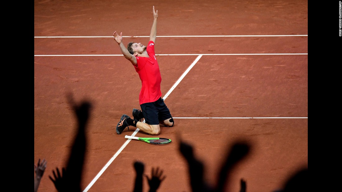 Belgium's David Goffin celebrates after winning his Davis Cup singles match against Australia's John Millman on Friday, September 15. Belgium went on to defeat the Australians 3-2 and clinch a spot in the final against France.