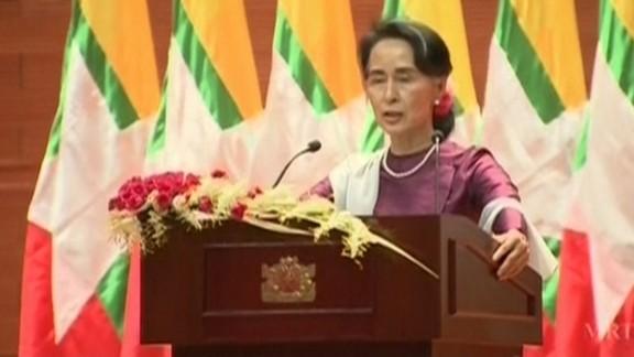 Aung San Suu Kyi during her address.