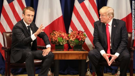 France's president Emmanuel Macron (L) meets with US President Donald Trump in New York on the sidelines of the 72nd session of the United Nations General Assembly on September 18, 2017. / AFP PHOTO / ludovic MARIN        (Photo credit should read LUDOVIC MARIN/AFP/Getty Images)