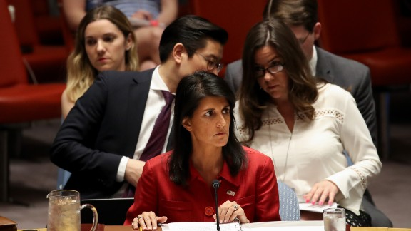 NEW YORK, NY - JULY 5: Nikki Haley, United States ambassador to the United Nations, looks on during an emergency meeting of the U.N. Security Council at United Nations headquarters, July 5, 2017 in New York City.  The United States requested an emergency meeting of the U.N. Security Council after North Korea tested an intercontinental ballistic missile earlier this week. (Photo by Drew Angerer/Getty Images)