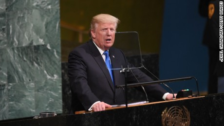 US President Donald Trump addresses the 72nd Annual UN General Assembly in New York on September 19, 2017.  (JEWEL SAMAD/AFP/Getty Images)