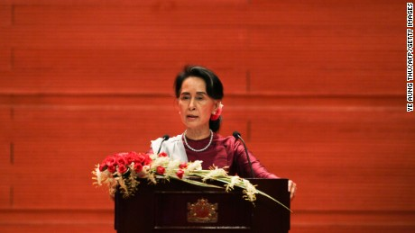 "Myanmar's State Counsellor Aung San Suu Kyi delivers a national address in Naypyidaw on September 19, 2017. Aung San Suu Kyi said on September 19 she ""feels deeply"" for the suffering of ""all people"" caught up in conflict scorching through Rakhine state, her first comments on a crisis that also mentioned Muslims displaced by violence. / AFP PHOTO / Ye Aung THU        (Photo credit should read YE AUNG THU/AFP/Getty Images)"