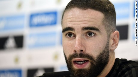 Real Madrid's defender Dani Carvajal speaks during a press conference at Real Madrid sports city in Madrid on August 15, 2017, on the eve of the Spanish SuperCup second leg football match Real Madrid CF vs FC Barcelona. / AFP PHOTO / JAVIER SORIANO        (Photo credit should read JAVIER SORIANO/AFP/Getty Images)