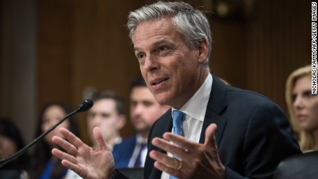 Jon Huntsman testifies before the US Senate Foreign Relations Committee on his nomination to be ambassador to Russia on Capitol Hill in Washington, DC, on September 19, 2017.