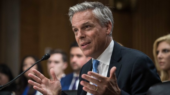 Jon Huntsman testifies before the US Senate Foreign Relations Committee on his nomination to be ambassador to Russia on Capitol Hill in Washington, DC, on September 19, 2017.  (NICHOLAS KAMM/AFP/Getty Images)