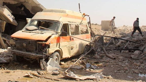 An ambulance damaged in an airstrike on Al-Tah.