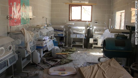 Baby incubators were covered in rubble and debris following an airstrike on the village of Al-Tah, in the northwestern Syrian province of Idlib.