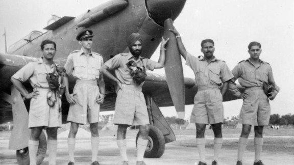 Undated archive photo circa 1942 shows Arjan Singh (center) with pilots of the No.1 Indian Air Force Squadron.