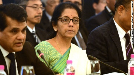 Nirmala Sitharaman looks on during a public-private dialogue for India-Japan investment, New Delhi, April 30, 2015.
