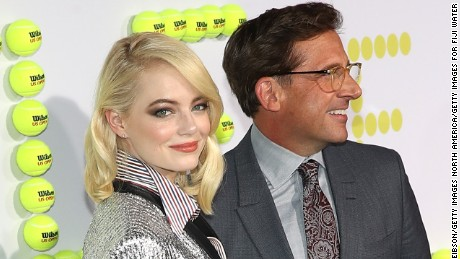 WESTWOOD, CA - SEPTEMBER 16:  (L-R) Emma Stone and Steve Carell attend the FIJI Water at the Battle of the Sexes Los Angeles Premiere on September 16, 2017 in Westwood, California.  (Photo by Jonathan Leibson/Getty Images for FIJI Water)
