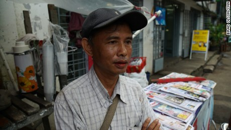 Bran San took time out from his job as a trishaw driver to watch Suu Kyi's speech live.