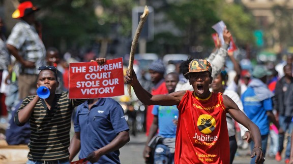 Supporters of President Uhuru Kenyatta, angry at the Supreme Court's nullification of the August presidential election, protest outside the court in downtown Nairobi on Tuesday.