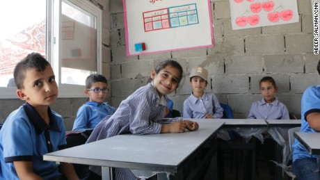 Palestinian students have returned to one school rebuilt after Israel forces demolished it last month.