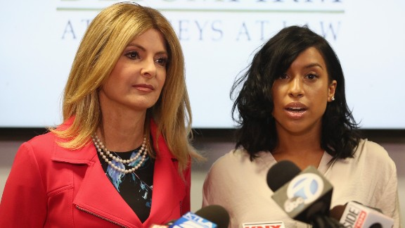 WOODLAND HILLS, CA - SEPTEMBER 20:  Lisa Bloom (L), lawyer for Montia Sabbag, speaks regarding the alleged attack on her client's character after accusations that Sabbag attempted to extort comedian Kevin Hart during a press conference held at The Bloom Firm September 20, 2017 in Woodland Hills, California.  The scandal stems from a provocative video taken in Las Vegas last month where both Hart and Sabbag are seen.  (Photo by Frederick M. Brown/Getty Images)