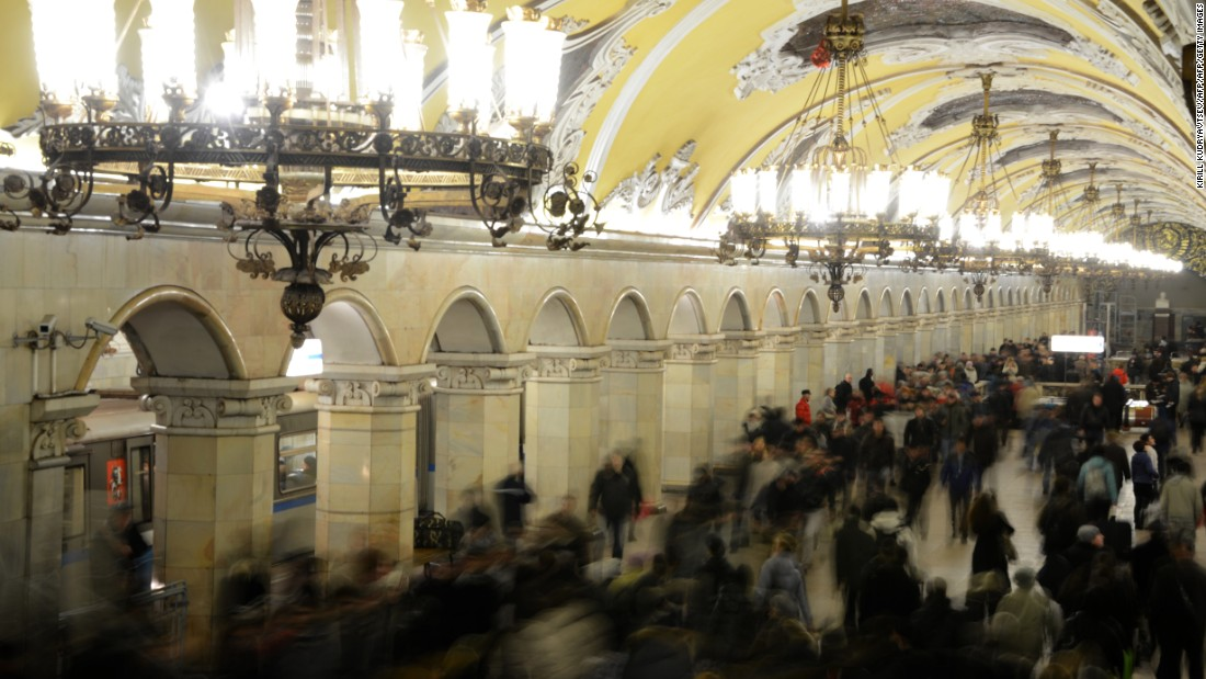 The ornate interior of Komsomolskaya Metro Station on the Koltsevaya Line of the Moscow subway. The station was opened in 1952.
