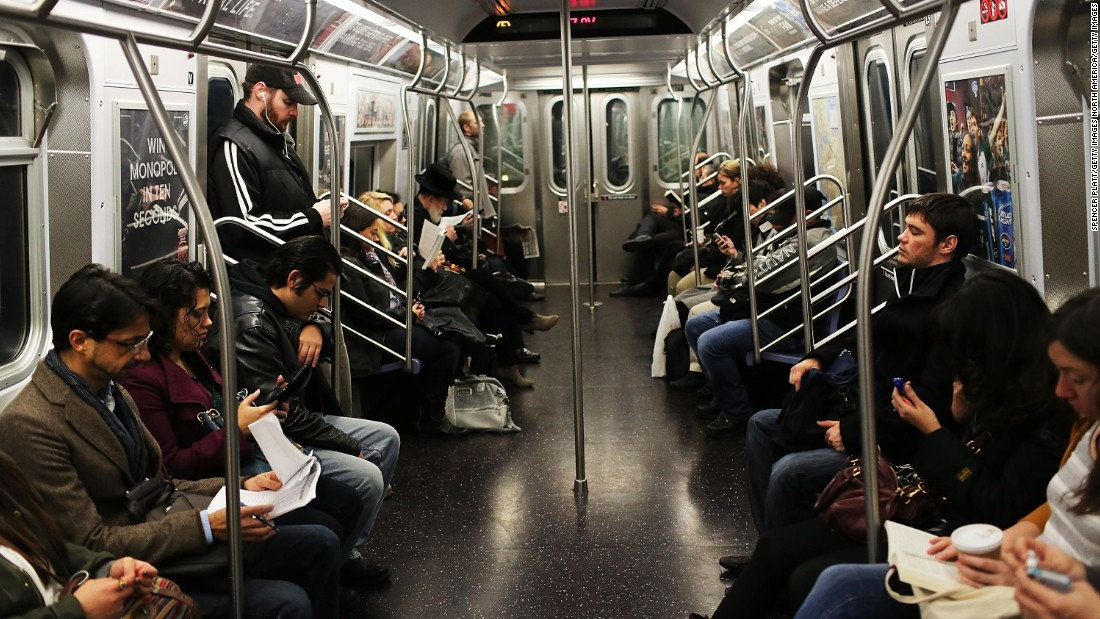 Passengers on the New York City subway.