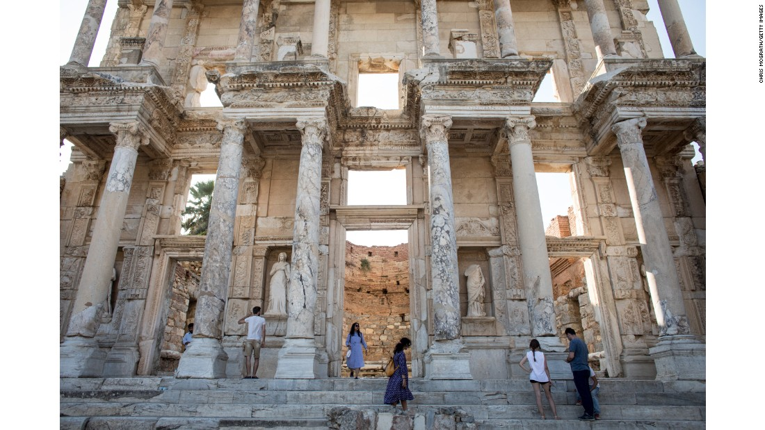 <strong>Selçuk, Turkey: </strong>The Library of Celsus was built in the ancient city of Ephesus -- now modern-day Turkey -- circa 114-117 CE. The facade was re-erected by archaeologists in the 1970s.