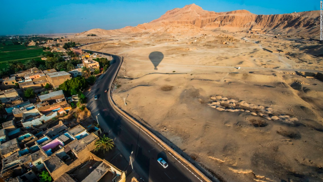 <strong>Luxor, Egypt: </strong>The Mortuary Temple of Hatshepsut (top right) and the Ramesseum temple are seen from a hot-air balloon over the southern Egyptian town of Luxor. <br />