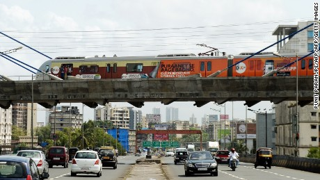 A Metro train travels between Varsova and Ghatkopar stations in Mumbai.