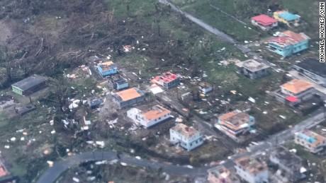 Aerial images of the destruction after Hurricane Maria to the Caribbean Island of Dominica.