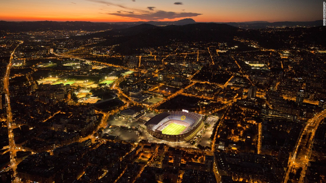 <strong>Barcelona, Spain: </strong>Camp Nou, the home stadium of FC Barcelona since 1957, is lit up for a soccer match between Spanish teams Barcelona FC and SD Eibar in September. <br />
