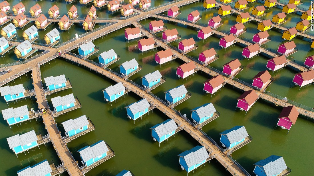 <strong>Laoting, China: </strong>An aerial view of the Dutch-style overwater cabins at the Yue Tuo Island Resort in northeast China.