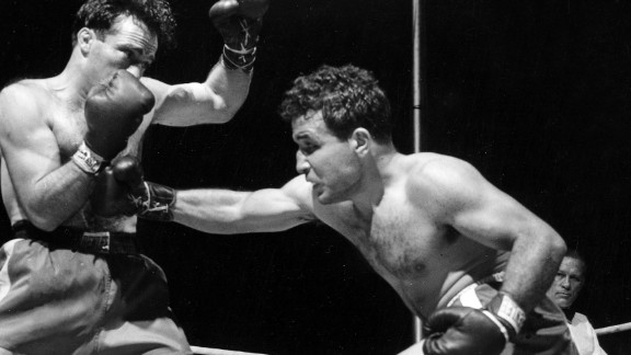 "Former boxing champion Jake LaMotta, right, died September 19 at the age of 95. LaMotta was played by Robert De Niro in Martin Scorsese's Oscar-winning movie ""Raging Bull."""