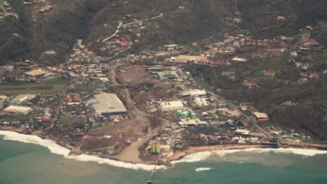Aerial view of Dominica devastation