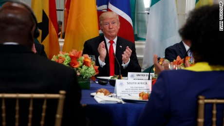 President Donald Trump applauds during a luncheon with African leaders at the Palace Hotel during the United Nations General Assembly, Wednesday, Sept. 20, 2017, in New York. (AP Photo/Evan Vucci)