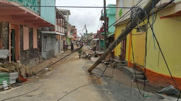 Damage is seen in Roseau, Dominica, on September 20.