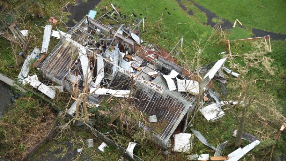 A shack is destroyed in San Juan on September 21.