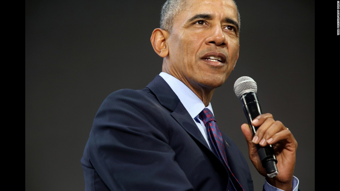 "Former US President Barack Obama answers questions at a Gates Foundation event in New York on Wednesday, September 20. In <a href=""http://www.cnn.com/2017/09/20/politics/obama-gates-foundation/index.html"" target=""_blank"">a rare public appearance</a> eight months after leaving office, Obama took shots at his successor's plans on health care and foreign policy but didn't criticize him by name."