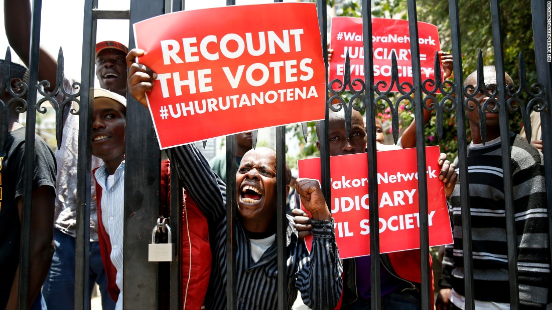 "Supporters of Kenyan President Uhuru Kenyatta demonstrate outside the Supreme Court in Nairobi on Tuesday, September 19. Earlier this month, the court <a href=""http://www.cnn.com/2017/09/20/africa/kenya-election-supreme-court/index.html"" target=""_blank"">invalidated the results</a> of the country's latest presidential election. Kenyatta won the election over veteran opposition candidate Raila Odinga, but the court upheld a petition by Odinga that claimed Kenyatta's re-election was fraudulent. <a href=""http://www.cnn.com/2017/09/04/africa/kenya-presidential-election/index.html"" target=""_blank"">A new election</a> was set for October 17."