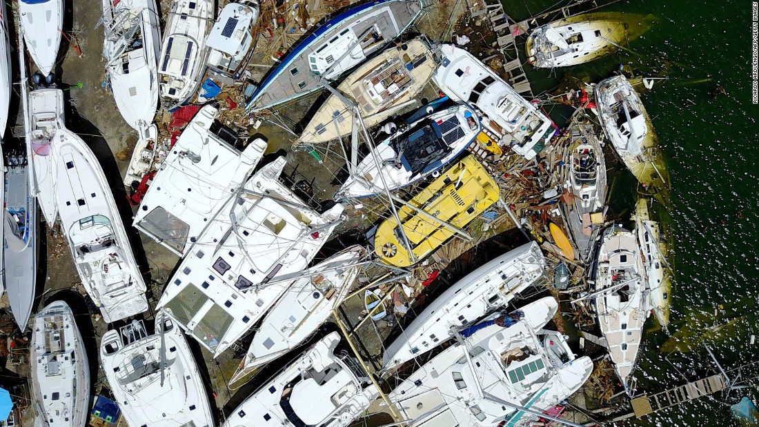 "Wrecked boats are piled up on the Caribbean island of St. Martin on Friday, September 15. Hurricane Irma <a href=""http://www.cnn.com/interactive/2017/09/world/hurricane-irma-caribbean-photos/"" target=""_blank"">left catastrophic damage</a> to the islands in its path."