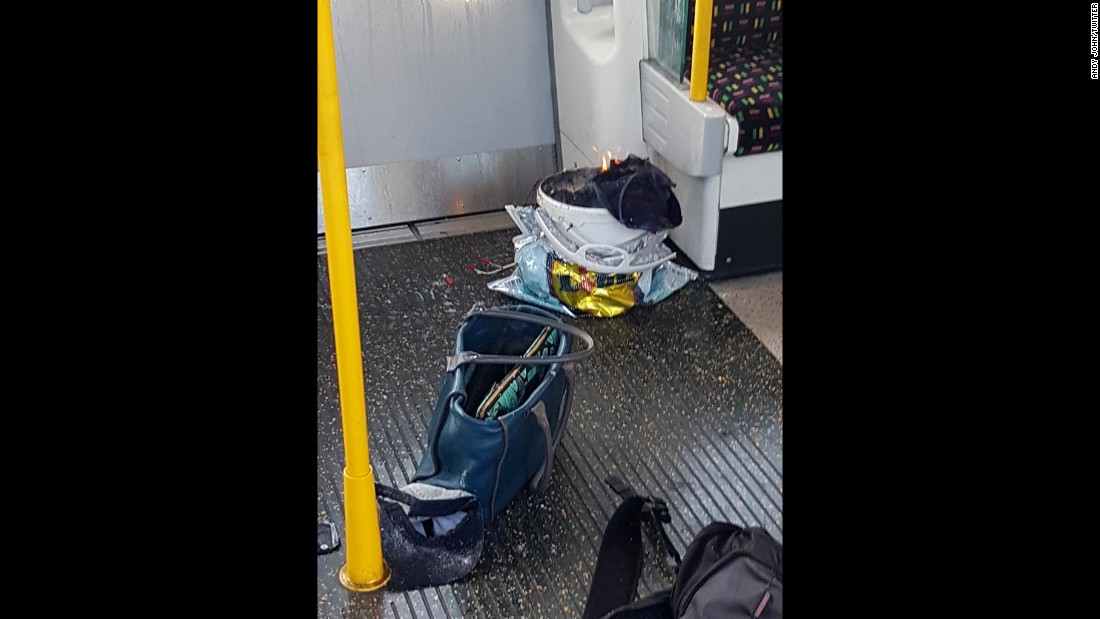 "Eyewitness Sylvain Pennec took this photo of an improvised explosive device, top right, that injured at least 30 people on one of London's Underground trains on Friday, September 15. <a href=""http://www.cnn.com/2017/09/15/europe/london-tube-security-incident/index.html"" target=""_blank"">The blast</a> occurred during morning rush hour at the Parsons Green Tube station."