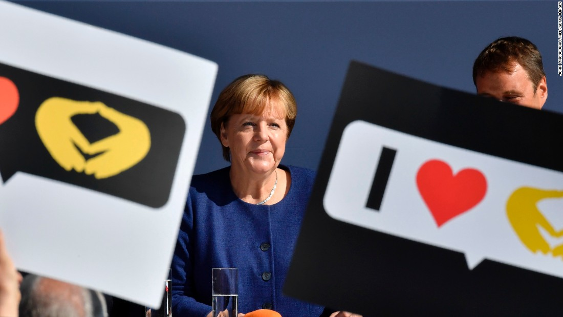 "German Chancellor Angela Merkel addresses supporters during an election rally in Binz, Germany, on Saturday, September 16. Merkel, <a href=""http://www.cnn.com/2013/09/19/europe/gallery/angela-merkel-career/index.html"" target=""_blank"">Germany's first female Chancellor, </a>is seeking re-election for an office she has held since 2005. <a href=""http://www.cnn.com/2017/08/31/europe/german-election-guide-trnd/index.html"" target=""_blank"">Why the German elections matter</a>"