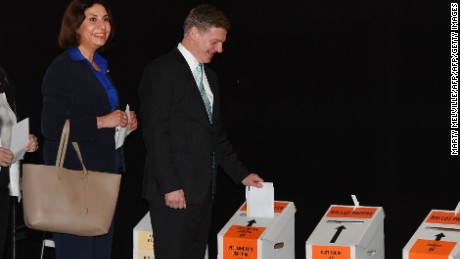 Prime Minister Bill English and his wife Mary cast their votes in Wellington on September 21.