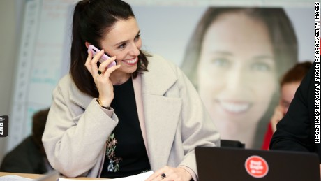 Labour leader Jacinda Ardern makes a campaign call at a phone bank on September 21, 2017 in Wellington, New Zealand.