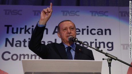 "NEW YORK, USA - SEPTEMBER 21: President of Turkey, Recep Tayyip Erdogan gives a speech during an intercultural event named ""Gathering with Turkish-American and American Muslim Community"" that hosted by the Turkish American National Steering Committee (TASC), at the New York Marriott Marquis hotel in New York, NY, United States on September 21, 2017. Turkish President Erdogan attended the 72nd session of the United Nations General Assembly as well as held a number of varied meetings within his trip on USA. (Photo by Turkish Presidency / Yasin Bulbul/Anadolu Agency/Getty Images)"