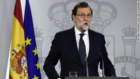 "Spanish Prime Minister Mariano Rajoy called on Catalan separatists to stop their ""escalation of radicalism and disobedience"" at a press conference on September 20."